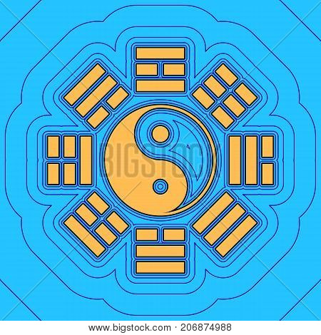 Yin and yang sign with bagua arrangement. Vector. Sand color icon with black contour and equidistant blue contours like field at sky blue background. Like waves on map - island in ocean or sea.