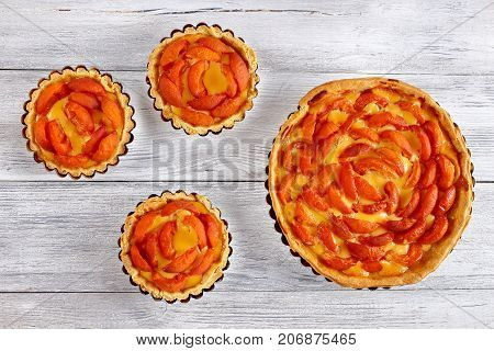 Homemade Apricot Tart In Baking Dish
