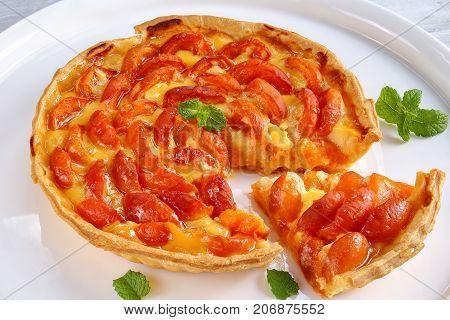 Homemade Apricot Tart On White Platter
