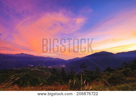 Beautiful dawn landscape with mountains and sky cloud