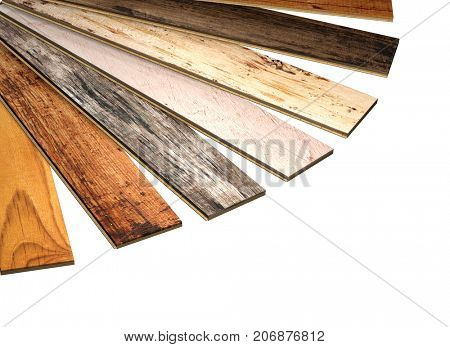 New planks of oak parquet of different colors with rustic texture. Isolated on white background. 3d render