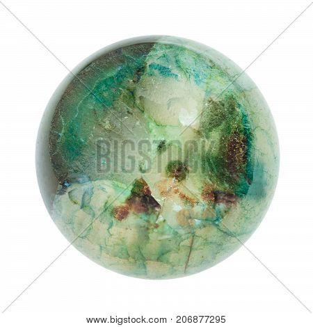 Crystalline Surface Of Green Agate Broken Ball