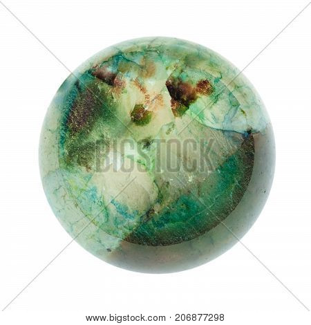 Crystalline Texture Of Green Agate Broken Ball
