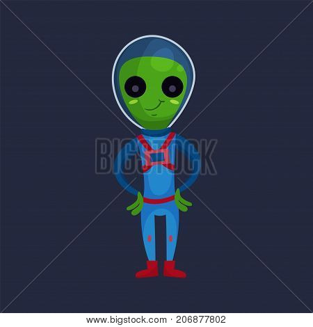 Friendly smiling green alien with big eyes wearing blue space suit, alien positive character cartoon vector Illustration on a dark blue background