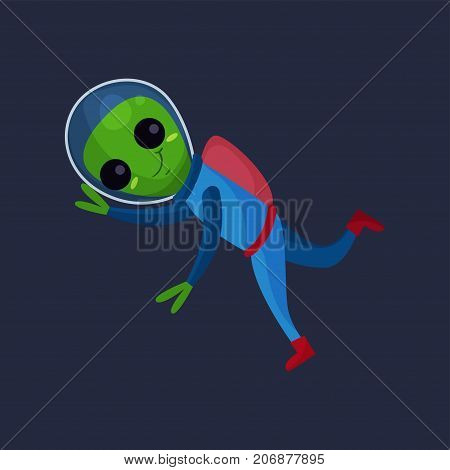 Smiling alien with big eyes wearing blue space suit flying in Space, alien positive character cartoon vector Illustration on a dark blue background