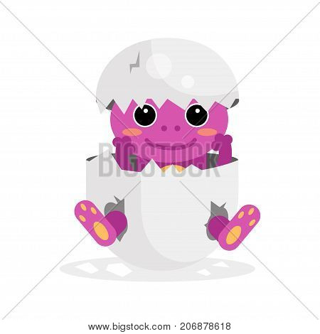 Cute newborn purple animal character, funny animal in egg shell cartoon vector Illustration on a white background