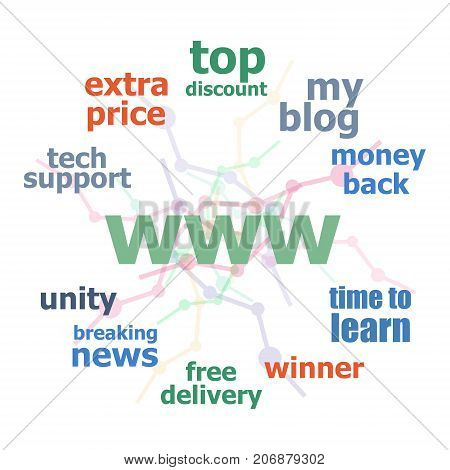 Text Www. Web Design Concept . Word Cloud Collage. Background With Lines And Circles