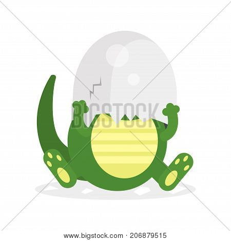 Cute newborn crocodile character, funny reptile in egg shell on his head cartoon vector Illustration on a white background