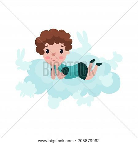 Cute little boy lying on a cloud, kid fantasizes and dreams cartoon vector Illustration on a white background
