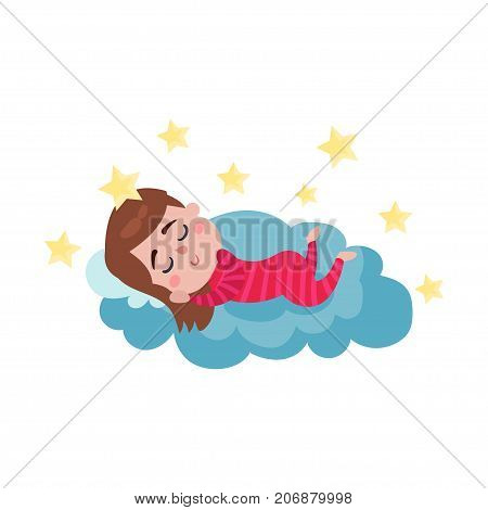 Cute little boy sleeping on a cloud, kid fantasizes and dreams cartoon vector Illustration on a white background