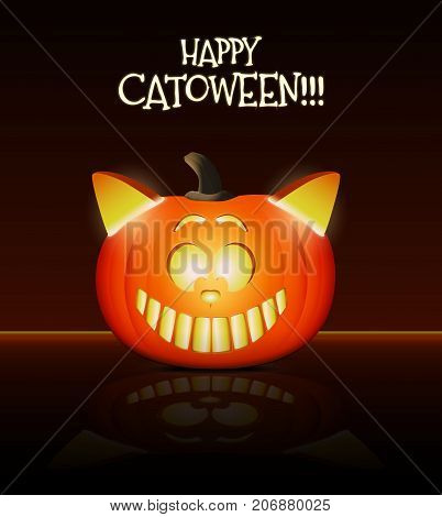 Halloween illustration. Cool cat head made from pumpkin.