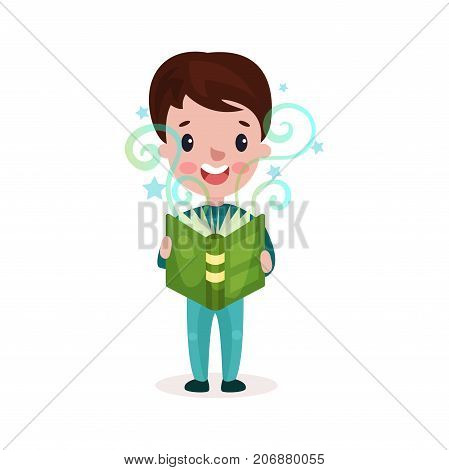 Cute little boy reading fairytale book, kids imagination concept colorful cartoon vector Illustration on a white background
