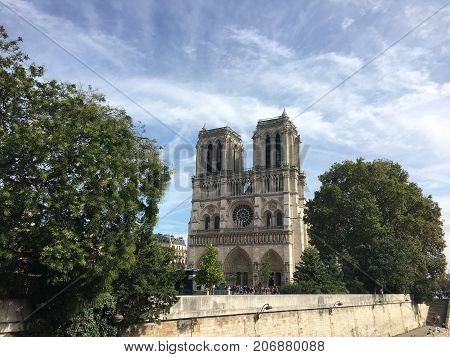 Front view of Notre-Dame de Paris Catholic cathedral on Ile de la cite island France