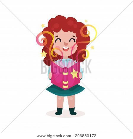 Adorable beautiful little girl standing and reading fairytale book, kids imagination concept colorful cartoon vector Illustration on a white background