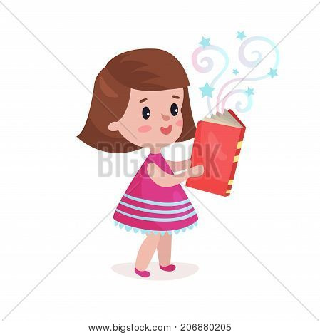 Sweet beautiful little girl standing and reading fairytale book, kids imagination concept colorful cartoon vector Illustration on a white background