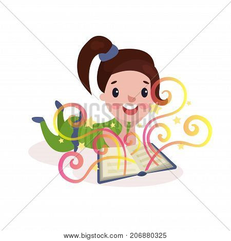 Sweet beautiful little girl lying on her stomach and reading fairytale book with imagination rainbow colorful vector Illustration on a white background