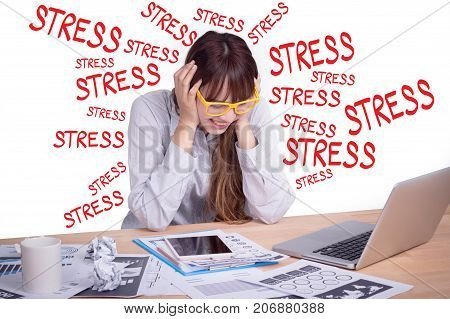 Tired and stress business people concept. A stressed Asian business woman looks tired in her office. Beautiful Asia female model in her 20s