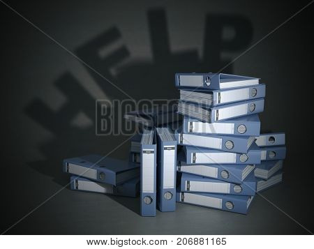 Heap of file folders and ring binders with shadow like help. Bureaucracy and overworking concept. 3d illustration