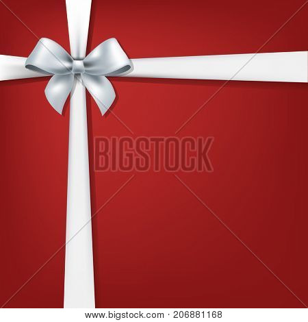 White Bow And Red Background Gradient Mesh, Vector Illustration