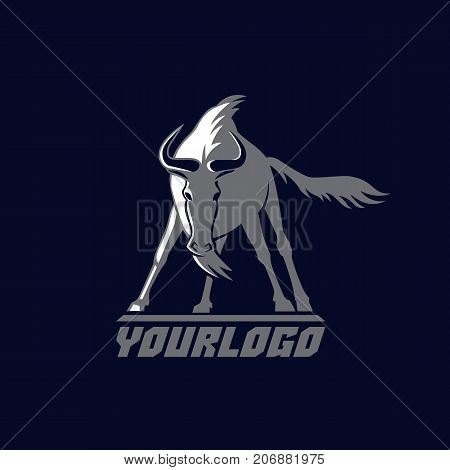 front wildebeest logo sign vector illustration on dark blue background