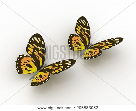 butterfly concept 3d . 3d rendered illustration