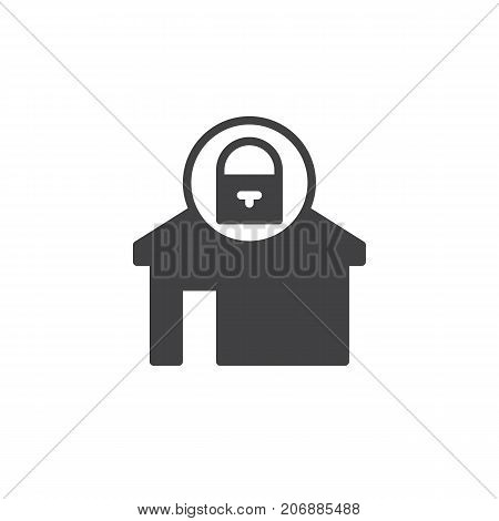 Home locked icon vector, filled flat sign, solid pictogram isolated on white. House with lock symbol, logo illustration.