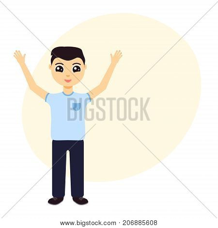 Cheerful young man with hands up on white background. Winner with raised hands. Concept of success, leadership and achievement. Vector illustration.