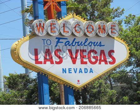 Las Vegas Nevada USA, 21 July 2011: Welcome to Fabulous Las Vegas sign Nevada USA