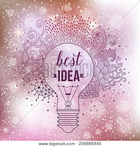 Light bulb made of handdrawn doodles, creative concept. Vector concept - creativity and idea. Lettering. quote. Big idea, Creative Research