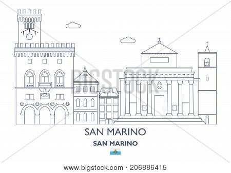 San Marino Linear City Skyline. Famous places
