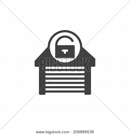 Garage unlocked icon vector, filled flat sign, solid pictogram isolated on white. Symbol, logo illustration.