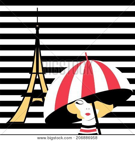 Fashion pop-art girl with umbrella in Paris. Stock vector illustration on black and white stripped background for glamour lifestyle in minimalistic style.