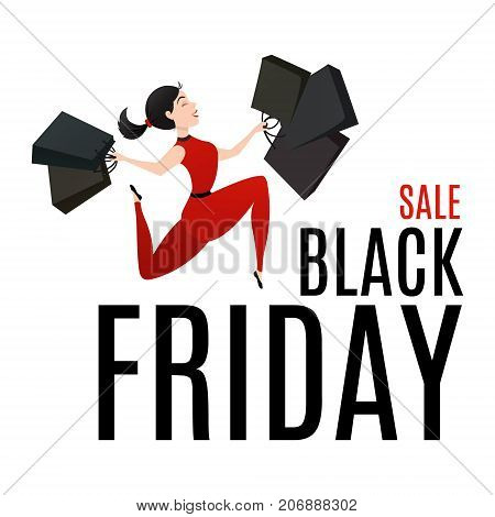 Black Friday Sale poster with happy woman holding shopping bags. Customer is jumping with joy. Smiling shopper. Sale, deal, offer, discount concept. Cartoon vector illustration on white background.