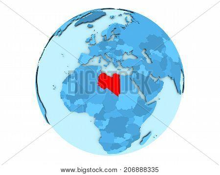 Libya On Blue Globe Isolated