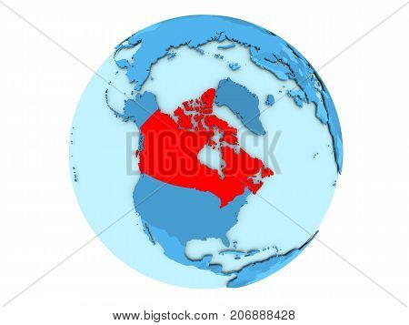 Canada On Blue Globe Isolated