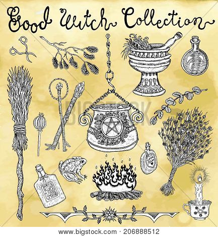 Collection with witch objects for Halloween - magic pot, herbs, broomstick, potion. Graphic vector engraved illustration with design elements for posters, invitations