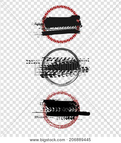Grunge off-road stamp shaped elements. Automotive collection useful for banner, quality sign, logo, icon, label and badge design . Tire tracks vector illustration.
