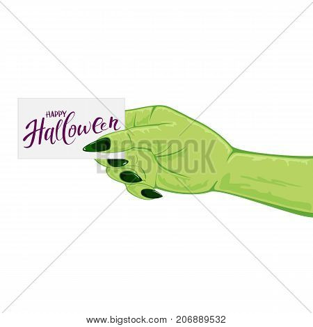 Green hand of witch isolated on white background and card with text Happy Halloween, illustration.