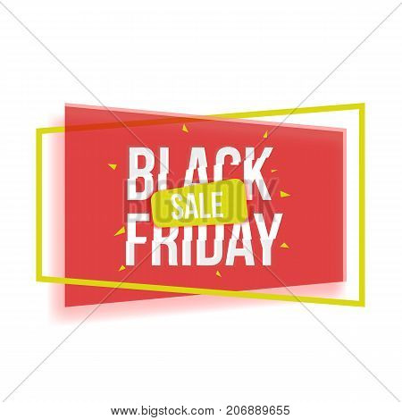 Black Friday sale banner with shapes, frame and glitch font, red and yellow vector illustration on white background. Black Friday sale banner, poster, advertisement design with glitch style typescript