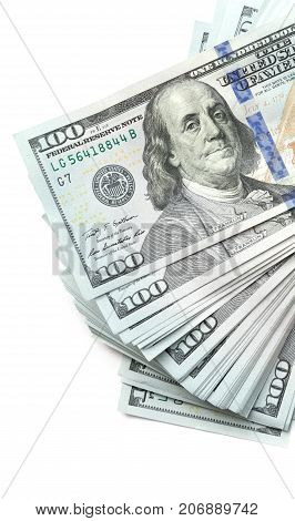 Fan Bundle Of One Hundred Dollars Isolated