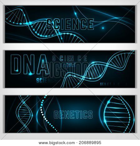 Landscape digital banners with glowing neon DNA chain. Abstract scientific background in deep blue colours. Beautiful vector illustration. Biotechnology, biochemistry, genetics and medicine concept.