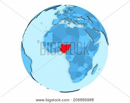Nigeria On Blue Globe Isolated