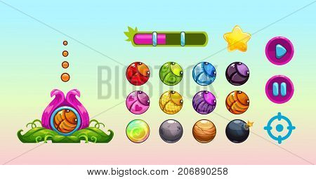 Cute vector assets for game design. GUI elements set. poster
