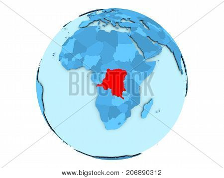 Democratic Republic Of Congo On Blue Globe Isolated