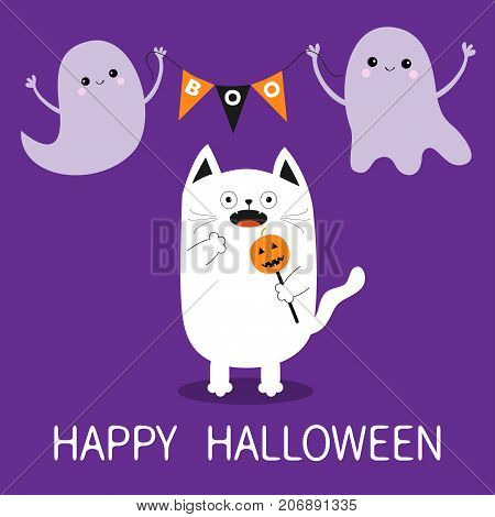 Happy Halloween. Spooky frightened cat holding pumpkin face on stick. Flag garland. Flying transparent ghost bunting flags Boo. Funny Cute cartoon baby character. Flat design. Violet background Vector