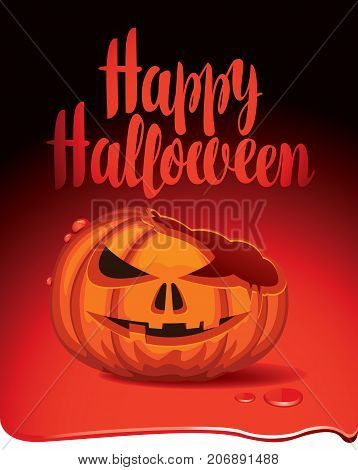 Vector Halloween banner with inscription and broken pumpkins head in a puddle of blood. Flyer or invitation template for Halloween party.