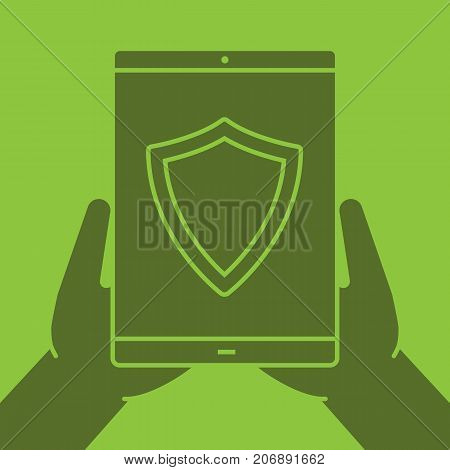 Hands holding tablet computer glyph color icon. Cyber security. Silhouette symbol. Tablet computer with protection shield. Negative space. Vector isolated illustration