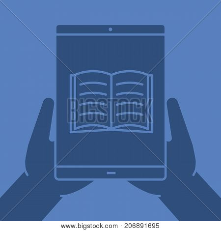 Hands holding tablet computer glyph color icon. Silhouette symbol. Tablet computer with open book. Negative space. Vector isolated illustration