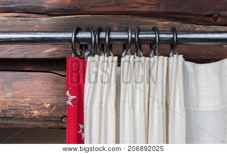 Close Up Of A Curtain Rail And Hanging Curtain And