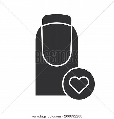 Nails care glyph icon. Favorite manicure type. Silhouette symbol. French manicure with heart shape. Negative space. Vector isolated illustration